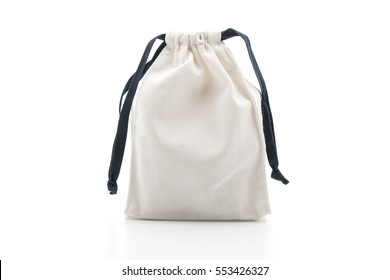 beautiful fabric bag on white background