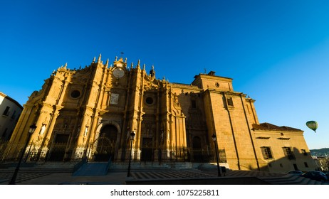Beautiful facade of historical cathedral at Guadix, Spain