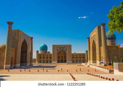 Beautiful facade of the Registan mosque building in Uzbekistan tourist city of Samarkand ancient Muslim buildings of the XV-XVII centuries