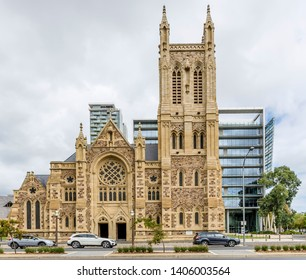 The beautiful facade of St Francis Xavier's Cathedral, Adelaide, Southern Australia