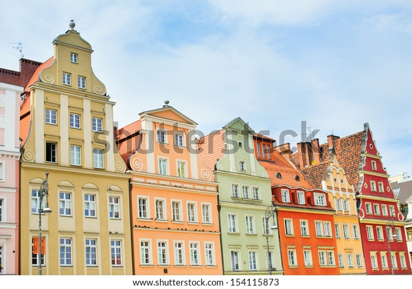 Beautiful facades of buildings in Wroclaw