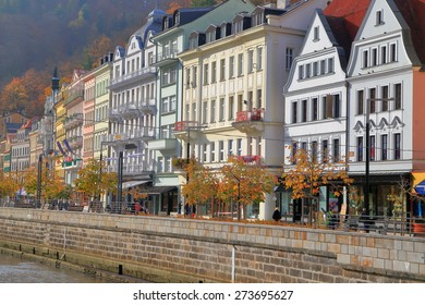 Beautiful facades of traditional buildings facing Tepla river in Karlovy Vary, Czech Republic