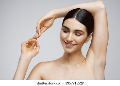 Beautiful face area underarms clear skin woman