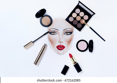 Beautiful face chart makeup woman drawing. Trendy female cosmetic products