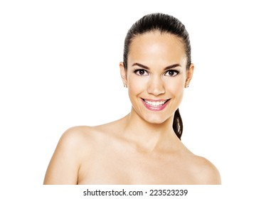 Beautiful face smilling of young adult woman with clean fresh skin - isolated on white