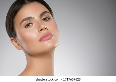 Beautiful face woman beauty close up clean fresh skin female portrait natural make up spa cosmetic young model