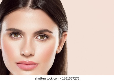 Beautiful face woman beauty female natural make up clean skin healthy eyes lips spa concept
