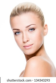 Beautiful face of a woman with clean skin - white background