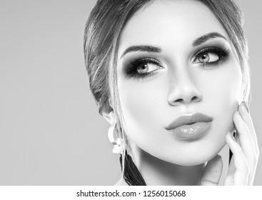 Beautiful face woman macro monochrome