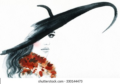 Beautiful face. woman portrait with hat. abstract watercolor .fashion background