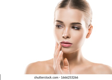 Beautiful face woman young model clean fresh skin natural make up beauty female