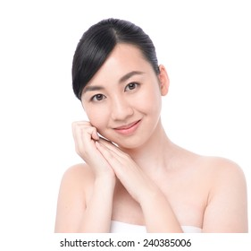 Beautiful face of a young asian woman