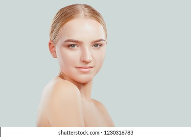 Beautiful face of a young blonde woman