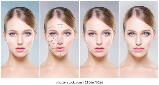 Beautiful face of young and healthy girl in collage collection. Plastic surgery, skin care, cosmetics and face lifting concept.