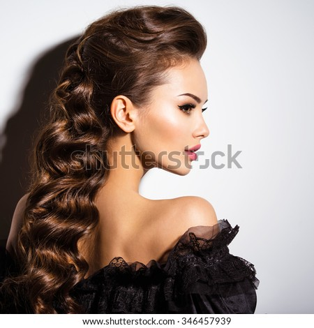 428ff1dad Beautiful Face Young Sexy Woman Black Stock Photo (Edit Now ...