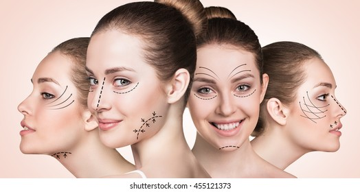 Beautiful faces of young woman