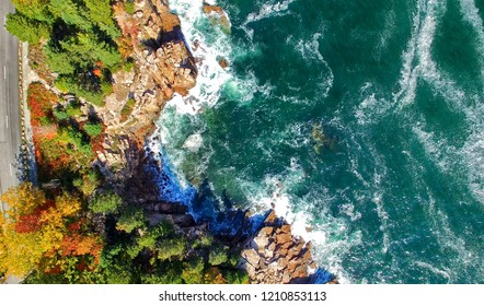 Beautiful fall colors of Acadia, Maine. Aerial view from helicopter.