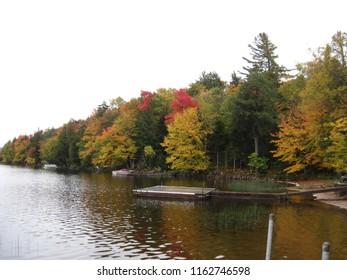 Beautiful fall colors in the Adirondack Mountains on Moose Lake.