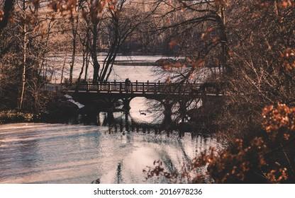 Beautiful Fall colors at Oak Bridge ,Bank Rock bay, Central Park, New York City.