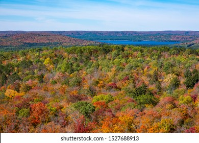Beautiful Fall Colors and Vistas Seen from Centennial Ridges Hiking Trail in Algonquin Provincial Park