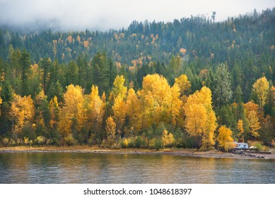 Beautiful fall colours on the shoreline of Kootenay Lake in British Columbia
