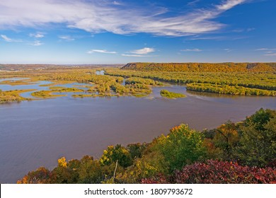 Beautiful Fall Day Above the Mississippi at Pikes Peak State Park in Iowa