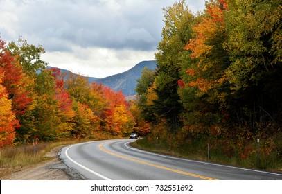 Beautiful fall foliage along the famous Kancamagus Highway at White Mountain, New Hampshire, USA