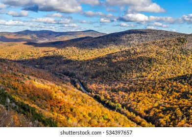 A beautiful fall landscape as seen from the Long Trail in the Brandon Gap of Vermont.