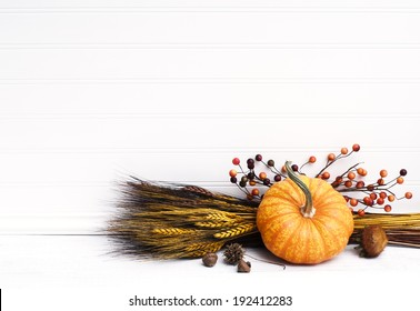 Beautiful Fall Mini Pumpkin with Wheat, Acorns, and Berries on White Board Background with empty room or space for copy, text.  Horizontal