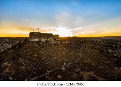 Beautiful fall sunrise over The Rock Park in Castle Rock, Colorado.