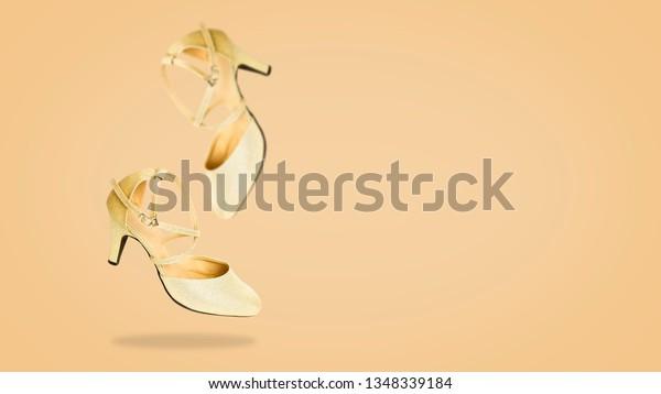 891a2af7e9e Beautiful Falling Pair Golden High Heels Stock Photo (Edit Now ...