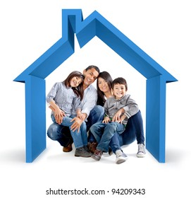 Beautiful family in a 3D house - isolated over a white background