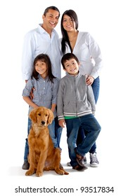 Beautiful family with a dog - isolated over a white background