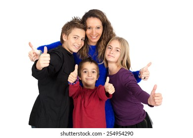 Beautiful family doing different expressions in different sets of clothes: thumbs up