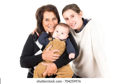 Beautiful family of grandmother, mother and baby isolated in white