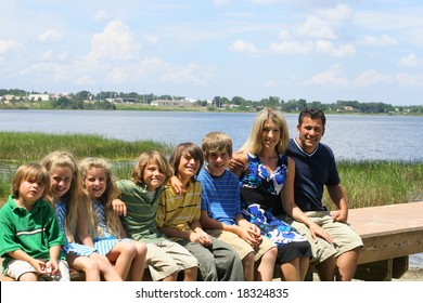 beautiful family on the dock