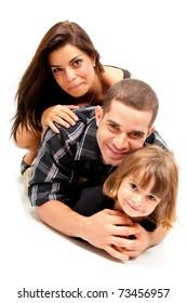 Beautiful family portrait on white background .