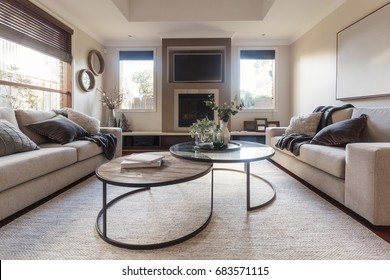 Beautiful family room styled in beige and neutral textures