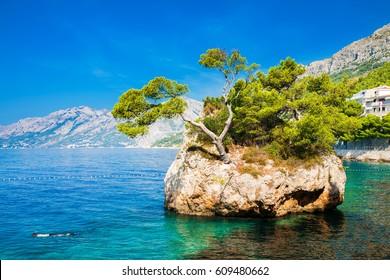 beautiful famous Brela Rock near Punta Rata beach, Makarska Riviera, Croatia