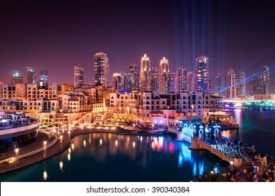 Beautiful famous downtown area in Dubai at night, Dubai, United Arab Emirates