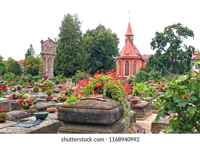beautiful and famous medieval Johannis cemetery of Nuremberg, Germany, with Johannis church