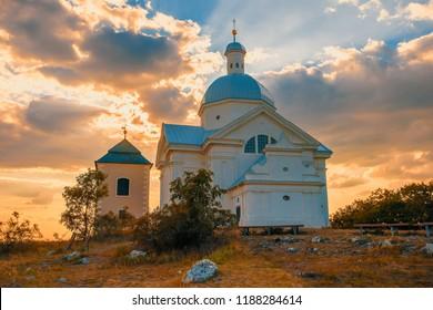 Beautiful and famous St. Sebastiano's chapel (svaty kopecek), Mikulov city, South Moravia Czech Republic