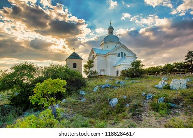 Beautiful and famous St. Sebastiano's chapel (svaty kopecek), Mikulov city, South Moravia Czech Republic
