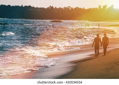 Beautiful fantastic sunset on beach landscapes. Selective focus.