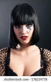 Beautiful fantasy eye face-art close-up portrait of a beautiful girl