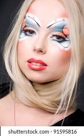 Beautiful fantasy eye face-art close-up