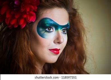 Beautiful fantasy eye face-art  portrait of a beautiful  woman