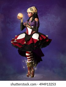 Beautiful fantasy fortune teller - 3D illustration