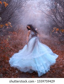 Beautiful fantasy woman spinning in dance. Luxury style art lush blue dress. Black long hair flying flutters in motion wind. Princess walks autumn forest. Backdrop fog bare trees fallen orange leaves