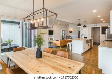 Beautiful Farm House Kitchen and Dining Space with Large Island